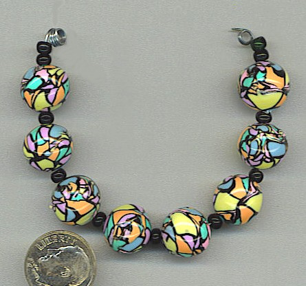 Round colored polymer clay mosaic beads