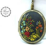 Flower Jewelry- Hungarian embroidery pattern, polymer clay Jewelry- Red Flower Pendant- Red and White Pendant-