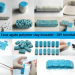 Faux agate polymer clay bracelet – DIY step by step tutorial – handmade – fimo – premo – sculpey – bangle