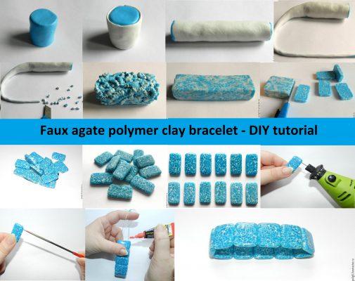 Faux agate polymer clay bracelet - DIY tutorial