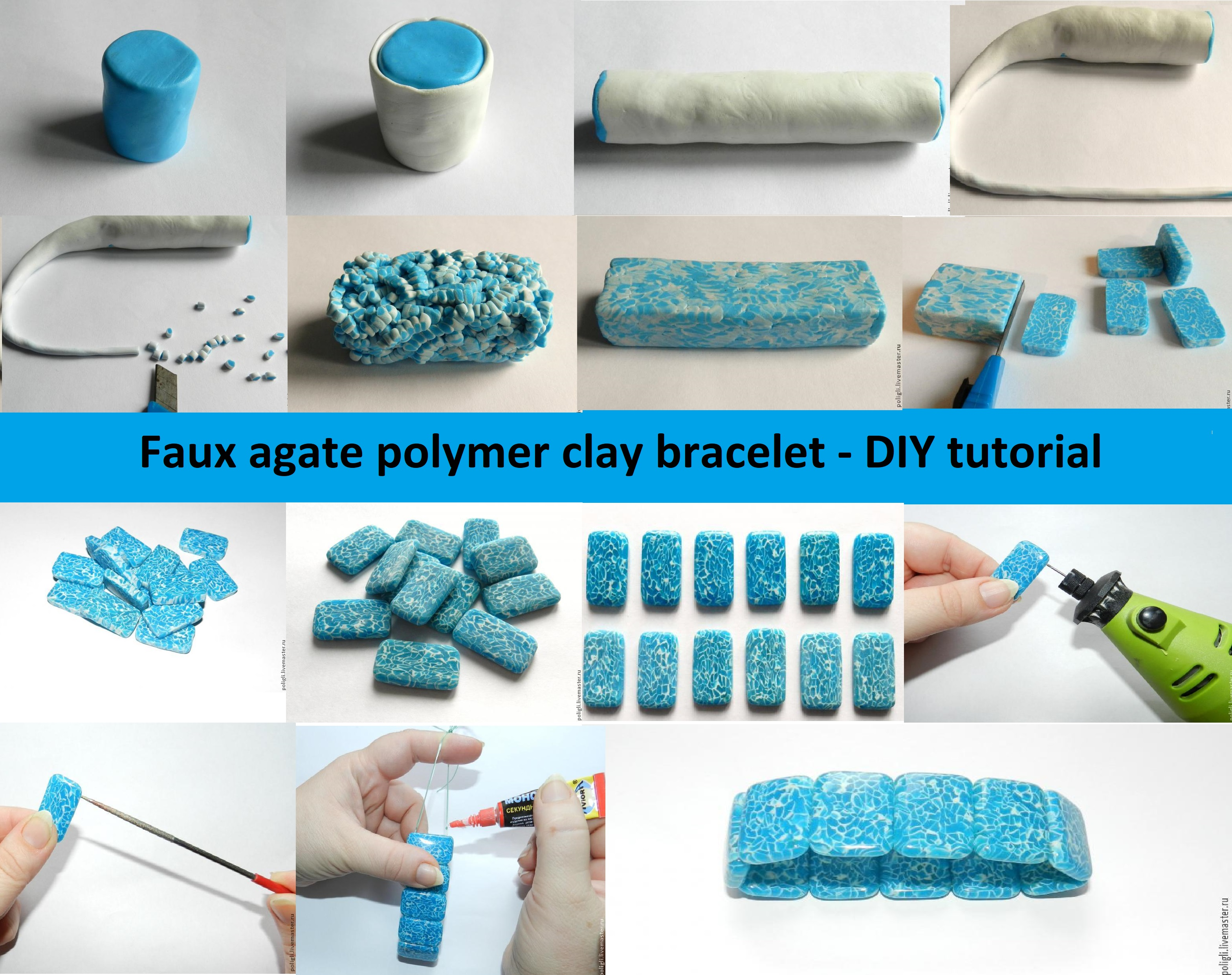 Faux agate polymer clay bracelet - DIY tutorial
