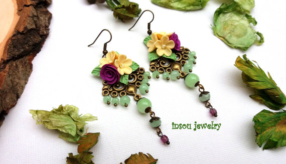 Fl Chandelier Earrings Flower Green Jewelry Boho Statement Dangle Handmade