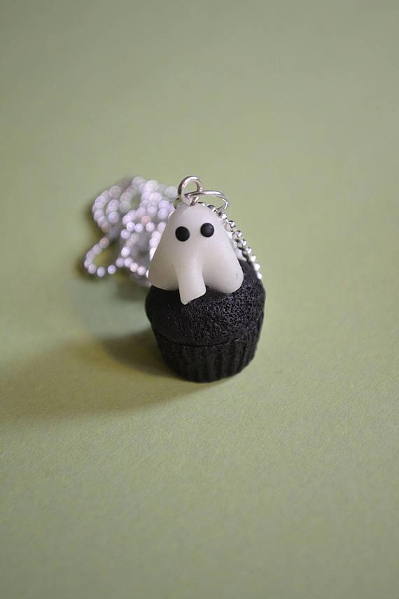 Polymer clay Halloween cupcake pendants