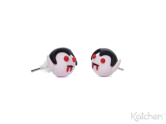 Halloween Jewelry Cute Vampire Earrings Made From Fimo Polymer Clay