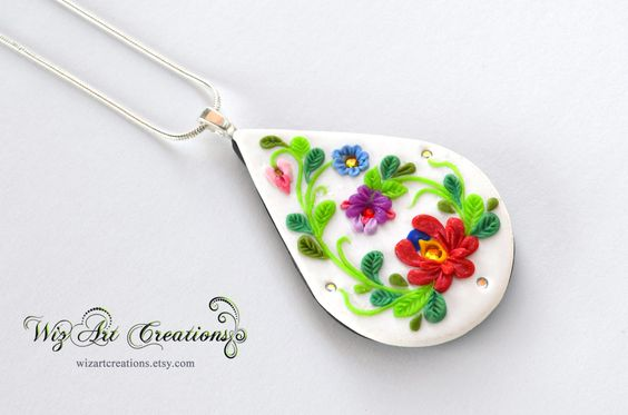 Polymer clay folk jewelry that match perfectly to your traditional costume