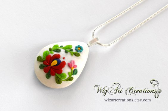 Handmade Polymer Clay Pendant Inspired by the Hungarian Kalocsai Embroidery, Polymer Clay Applique Necklace, Wearable Art