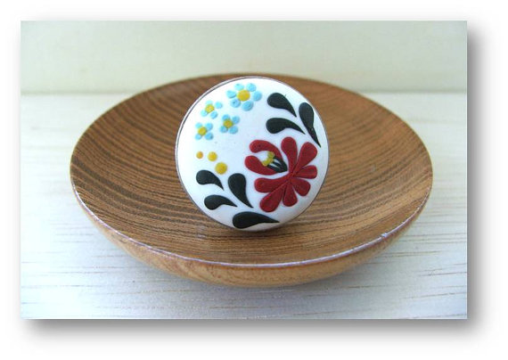 Hungarian Folk Motif Jewelry- Polymer Clay Jewelry- Kalocsai Motif Ring- White, Red, Green, Yellow, Blue Ring