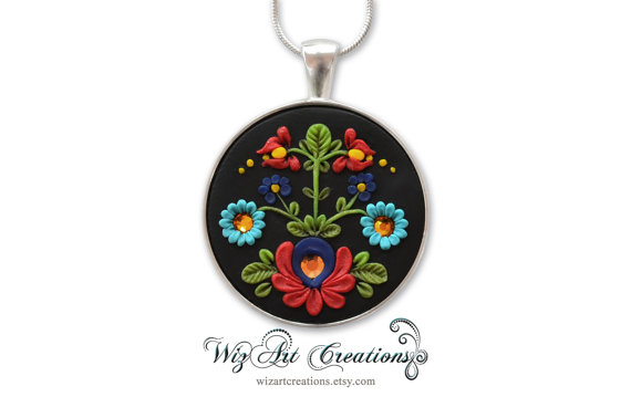 Hungarian Handmade Jewelry, Polymer Clay Jewelry, Kalocsai Clay Embroidery, Clay Applique, Art of Hungary and Transylvania, WEARABLE ART