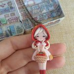 Little red riding hood necklace, fairytale, polymer clay2