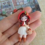 Little red riding hood necklace, fairytale, polymer clay