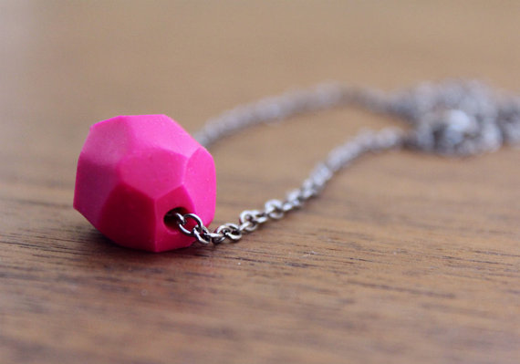 Modern Geo Necklace - Single Stone Faceted Polymer Clay Pendant - Pink Geometric Necklace