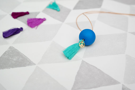 Peacock Blue polymer clay bead necklace with teal green tassel fimo bead necklace, long necklace, tassel necklace, waxed cotton cord