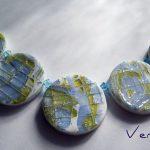 Polymer Clay, Silver-leaf, Swarovski bicones beads