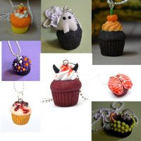 Polymer clay Halloween cupcake pendants