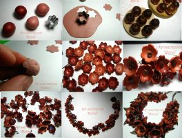 Polymer clay autumn flower necklace – DIY step by step tutorial