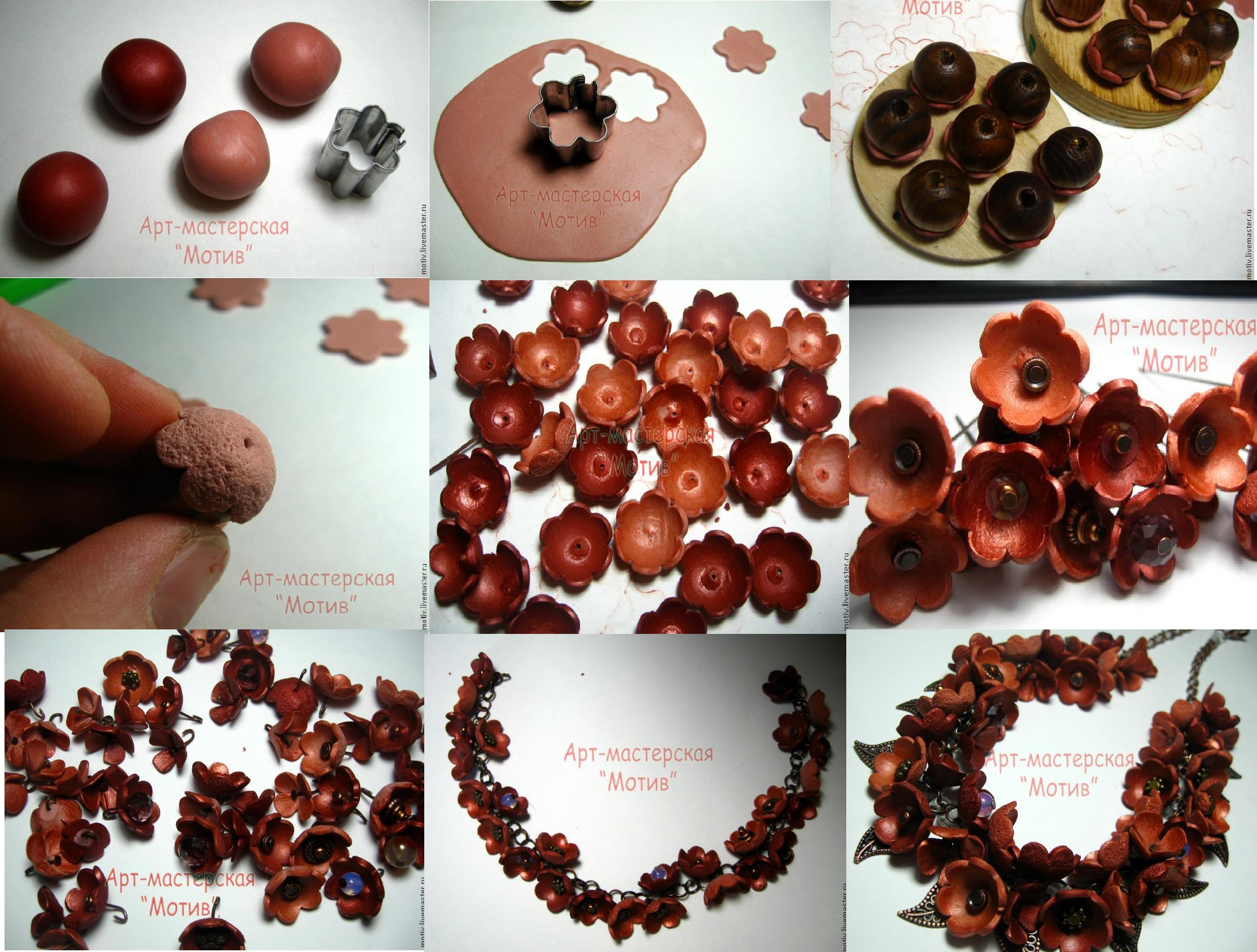 Polymer clay autumn flower necklace - DIY step by step tutorial