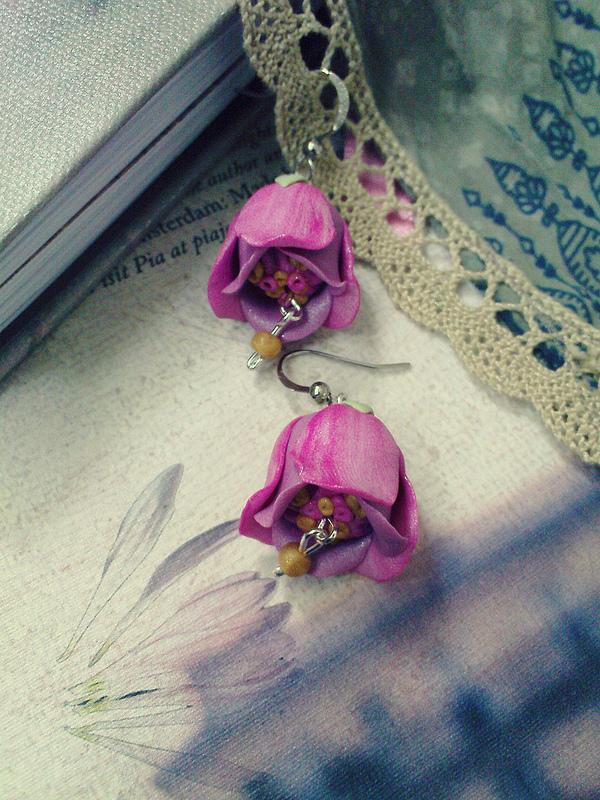 Polymer clay beautiful bell flower earrings (2)