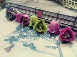 Polymer clay beautiful bell flower earrings