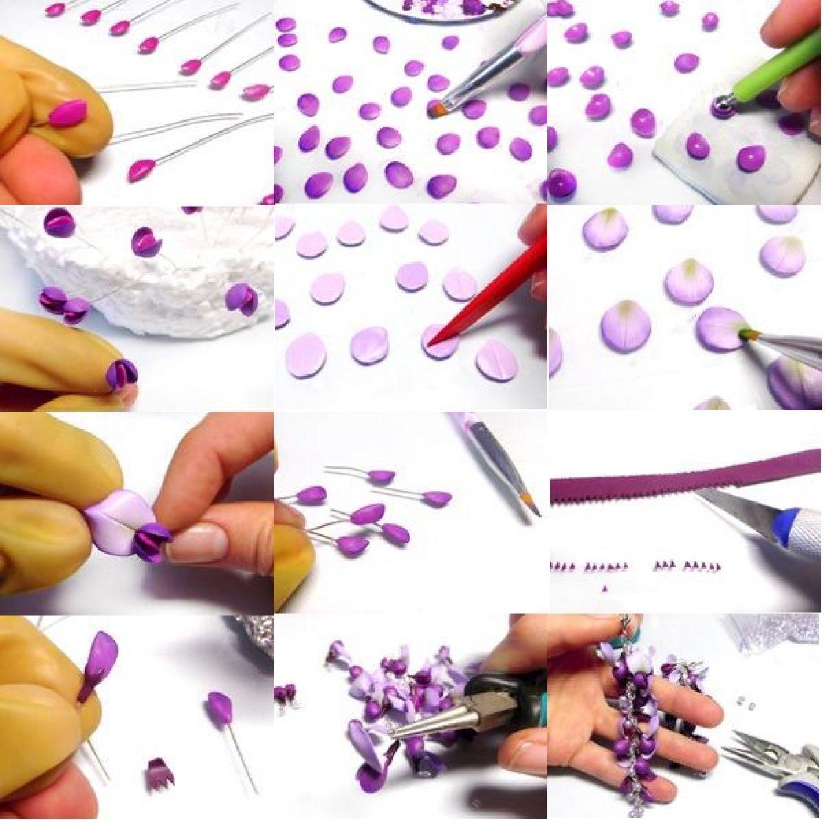 Handmade Lilac Purple Yin And Yang Flower polymer clay Dangle earrings