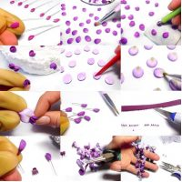 Polymer clay dangle wisteria flower earrings – free DIY step by step tutorial