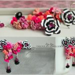 Polymer clay earrings white black streaks and a color explosion (11)