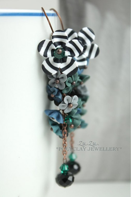 Polymer clay earrings white black streaks and a color explosion (6)