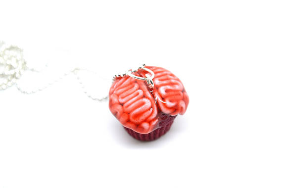 Chocolate Spooky R.I.P grave Halloween cupcake necklace! Is decorated on the top with a Biscuit dead stone,green whipped cream for plants,biscuit grave dust ...