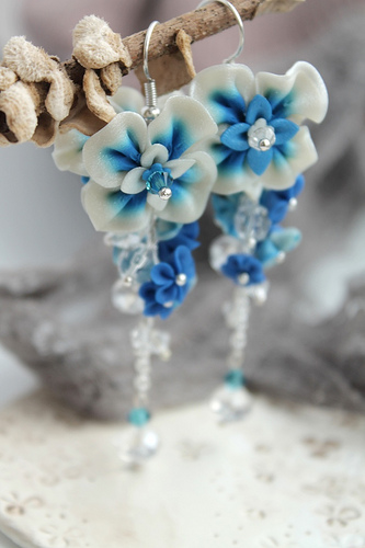 Clay white and blue polymer clay earrings