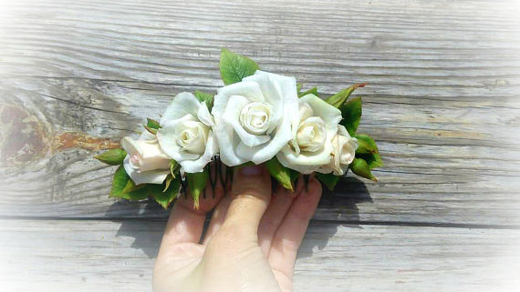 Hair accessorycomb rose comb flowers comb weddingwhite roses in hair accessorycomb rose comb flowers comb weddingwhite roses in hairhair flowershair clip with roses clip into the brides hairstyle mightylinksfo