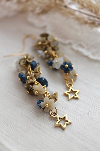 Handmade blue and beige polymer clay earrings