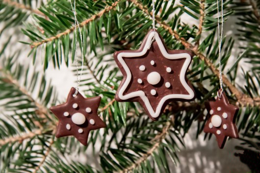 Polymer clay gingerbread star Christmas tree ornament