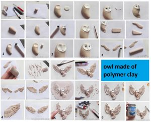 Polymer clay owl  - DIY step by step tutorial