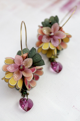Polymer clay colord earrings