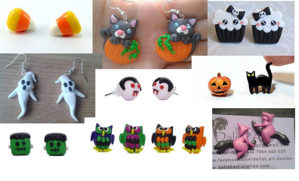 Polymer clay halloween earrings ideas