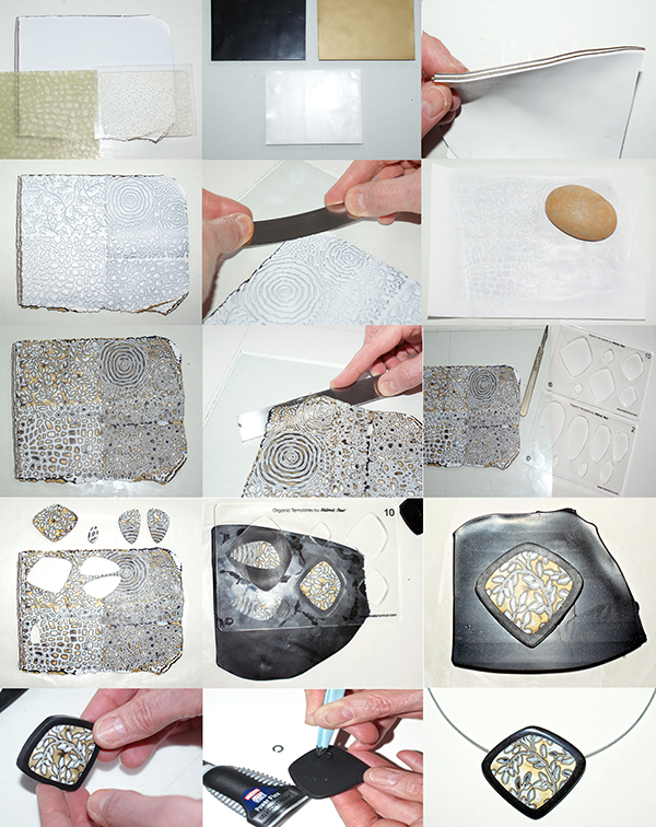 Amazing polymer clay mokume gane pendant - tutorial
