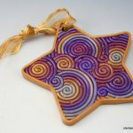 Polymer clay star - christmas tree ornaments - x-mas handmade colorful star 1
