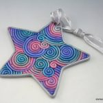 Polymer clay star - christmas tree ornaments - x-mas handmade colorful star