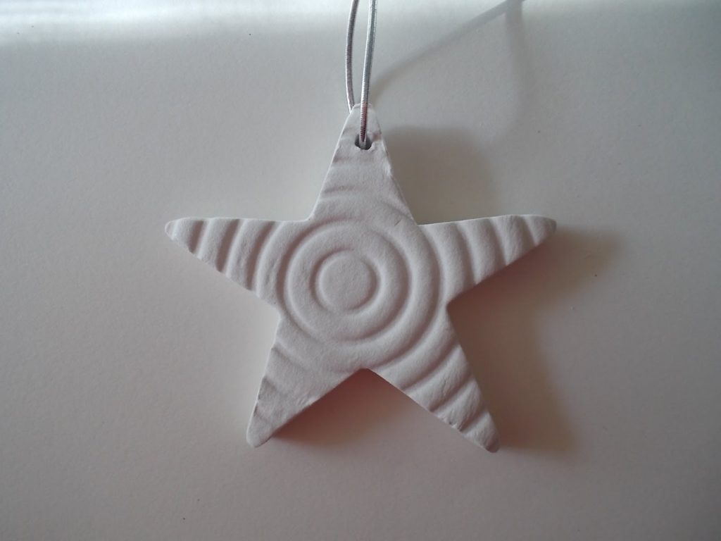 Polymer clay star - christmas tree ornaments - x-mas handmade white star