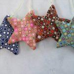 Polymer clay star - christmas tree ornaments - x-mas handmade colorful star 2