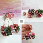 Polymer clay white wedding earrings