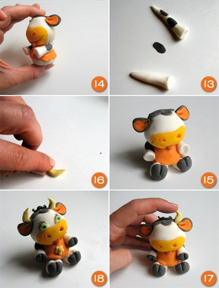 Polymer clay funny caw - DIY step by step tutorial