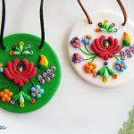 Hungarian polymer clay folk jewelery fimo pendant