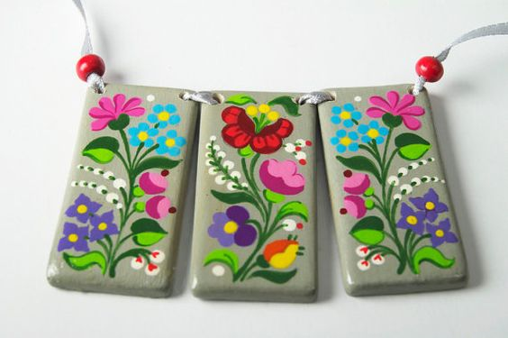 Handpainted Necklace inspired by Hungarian embroidery (style is called Kalocsai)
