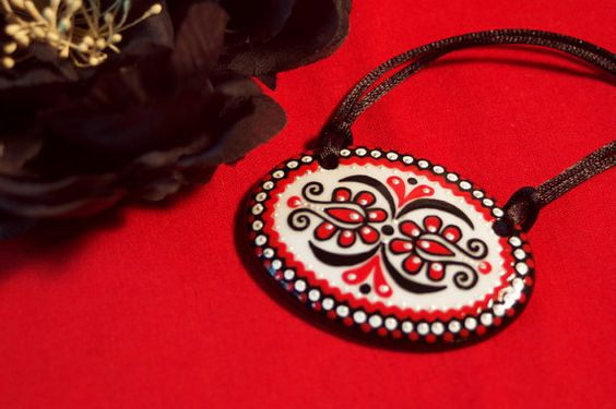 Handpainted Porcelain Necklace with Hungarian Motive