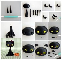 Polymer clay Halloween black cat – DIY step by step tutorial
