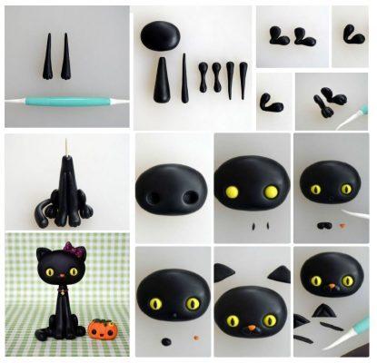 Polymer clay Halloween black cat - DIY step by step tutorial