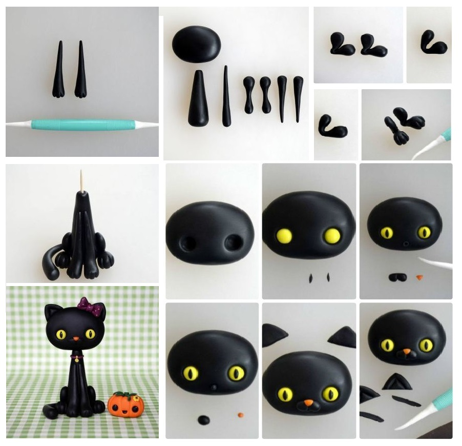 Polymer clay Halloween black cat - DIY step by step tutorial
