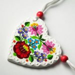 Handpainted Porcelain Pendant Circle with Embroidery Motifs from Kalocsa, Hungary, Purple Red White