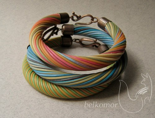 Faux amber polymer clay bracelet - DIY tutorial