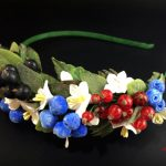 Headband with summer flowers and berries, Summer headband, Dandelions headband, Wildflowers, Headband with flowers, Headband with berries